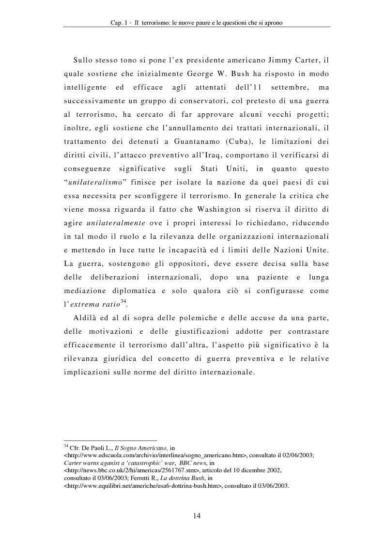 Anteprima della tesi: La compressione dei diritti costituzionali in ragione della lotta al terrorismo: il caso americano, Pagina 14