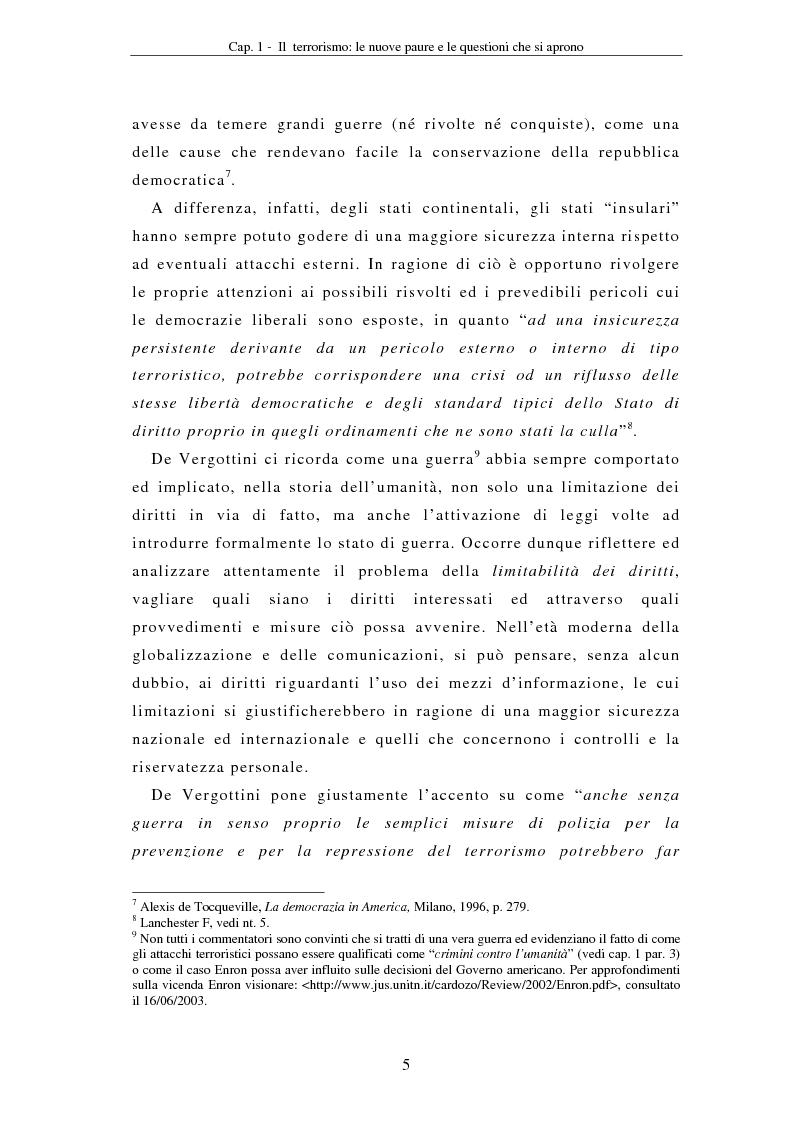 Anteprima della tesi: La compressione dei diritti costituzionali in ragione della lotta al terrorismo: il caso americano, Pagina 5