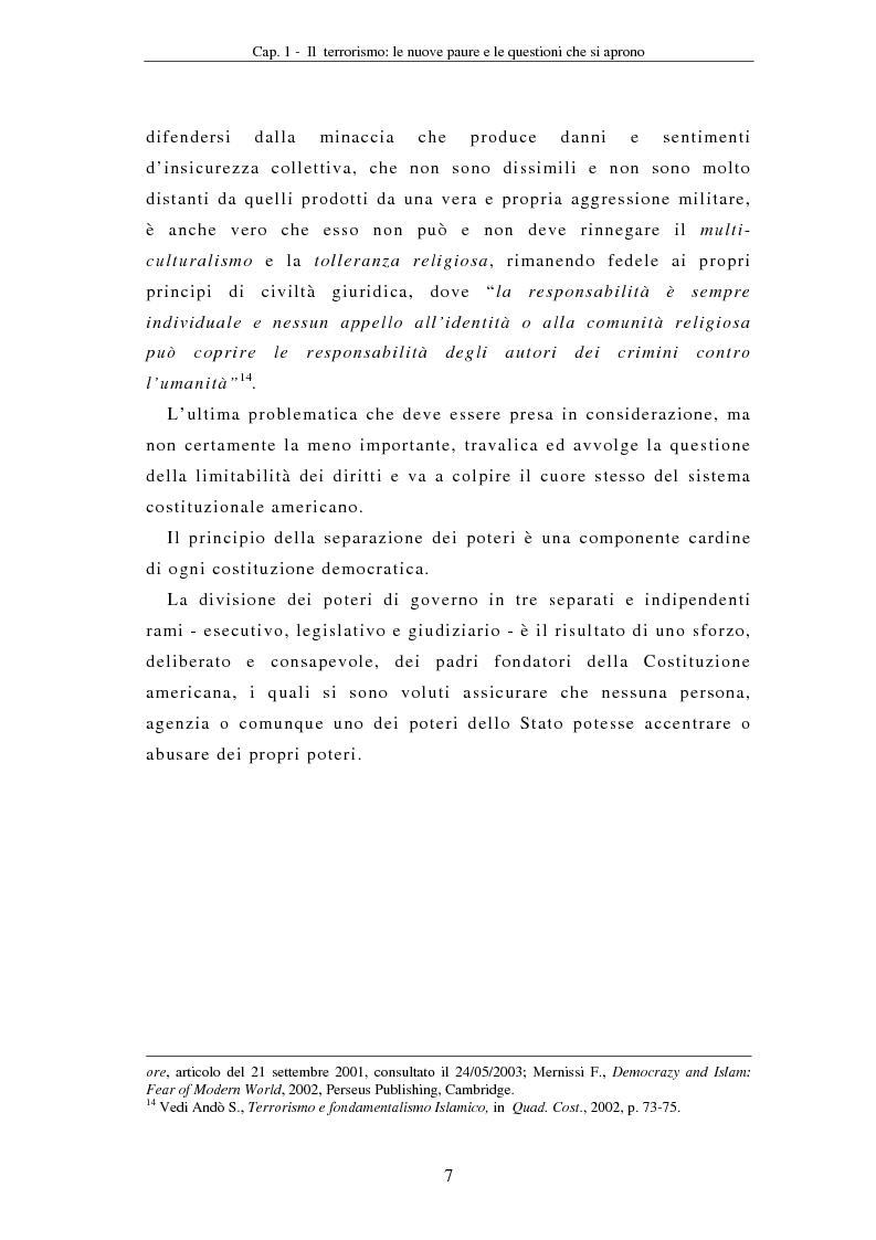 Anteprima della tesi: La compressione dei diritti costituzionali in ragione della lotta al terrorismo: il caso americano, Pagina 7