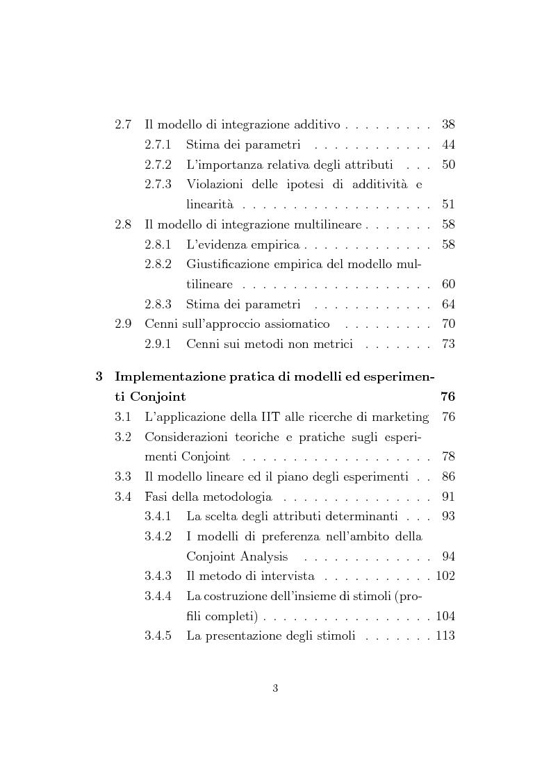 Indice della tesi: La Conjoint Analysis nelle ricerche di marketing, Pagina 2