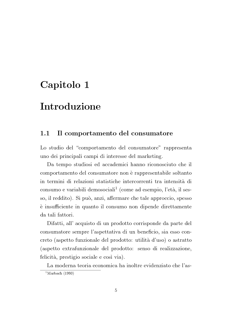 Anteprima della tesi: La Conjoint Analysis nelle ricerche di marketing, Pagina 1
