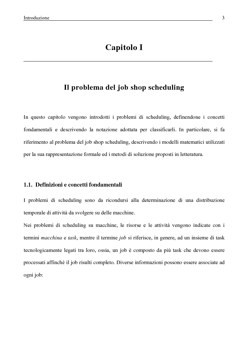 Anteprima della tesi: Algoritmi di Rollout per il problema del Job Shop Scheduling, Pagina 4