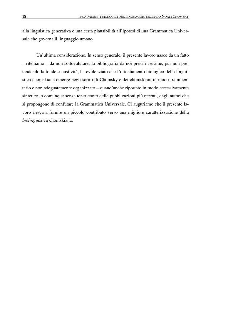 Anteprima della tesi: I fondamenti biologici del linguaggio secondo Noam Chomsky. Grammatica Universale e dati sperimentali., Pagina 10