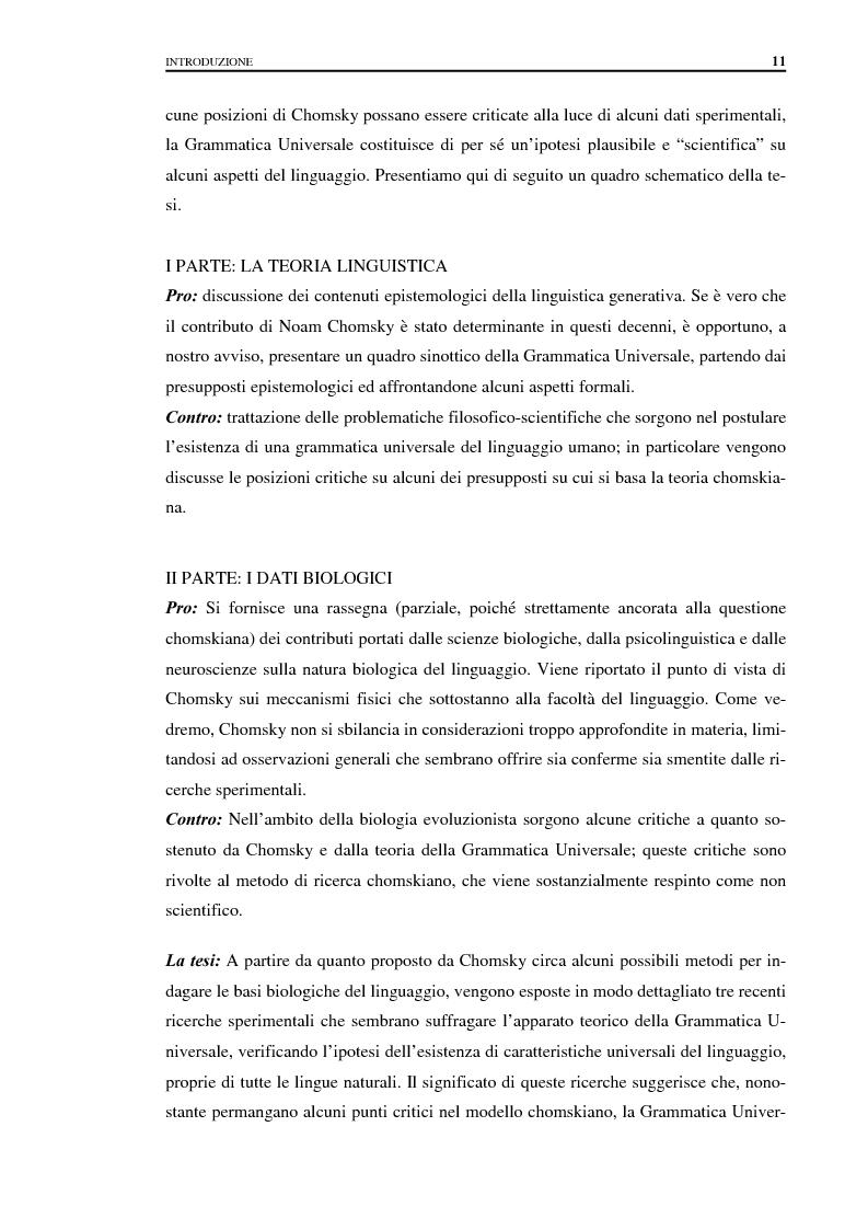 Anteprima della tesi: I fondamenti biologici del linguaggio secondo Noam Chomsky. Grammatica Universale e dati sperimentali., Pagina 3