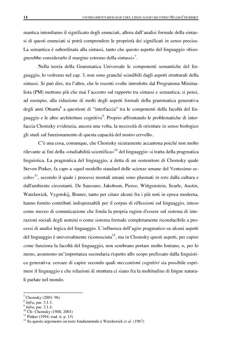 Anteprima della tesi: I fondamenti biologici del linguaggio secondo Noam Chomsky. Grammatica Universale e dati sperimentali., Pagina 6
