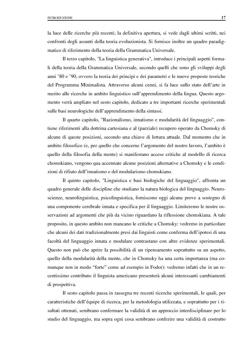 Anteprima della tesi: I fondamenti biologici del linguaggio secondo Noam Chomsky. Grammatica Universale e dati sperimentali., Pagina 9