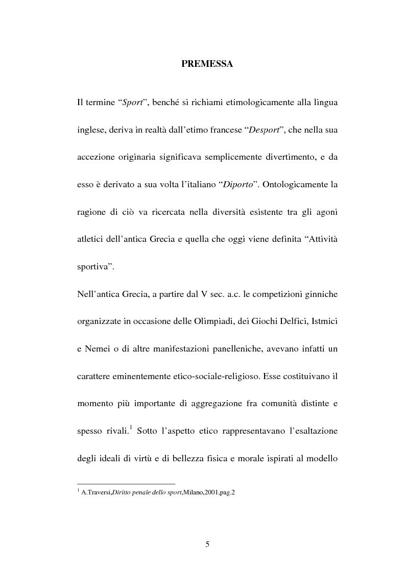 Anteprima della tesi: Attività sportiva e legislazione antidoping, Pagina 1