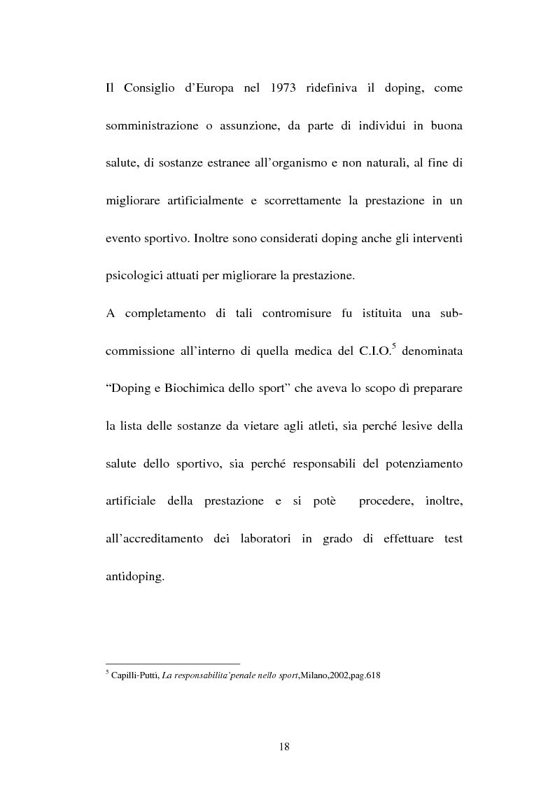 Anteprima della tesi: Attività sportiva e legislazione antidoping, Pagina 14
