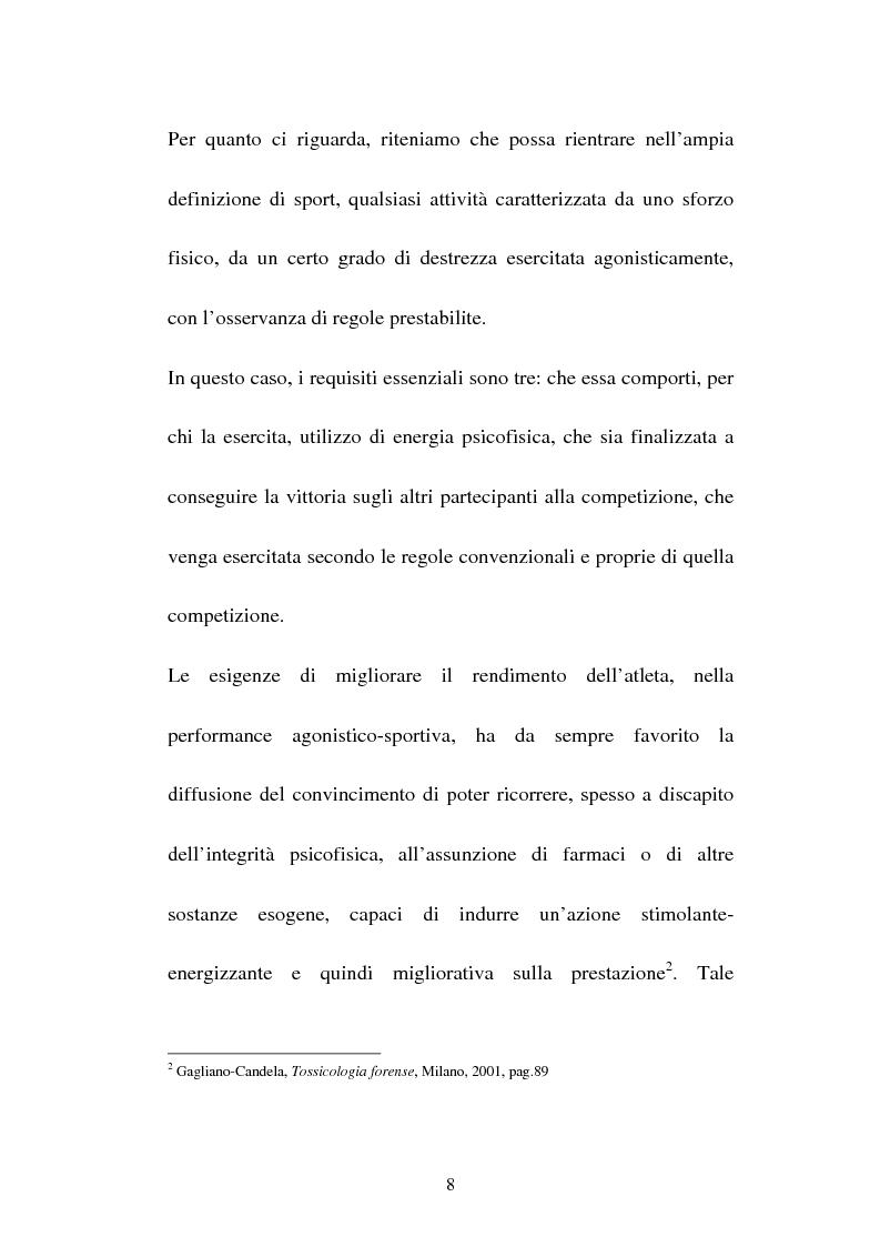 Anteprima della tesi: Attività sportiva e legislazione antidoping, Pagina 4
