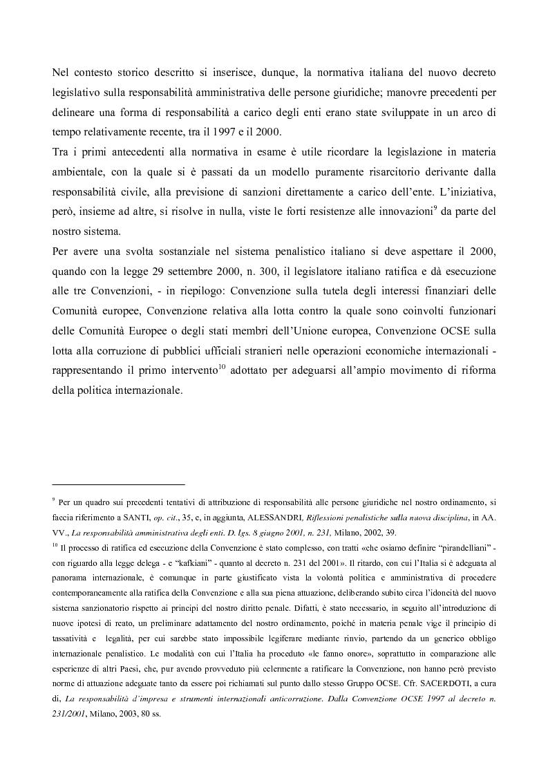 Anteprima della tesi: Il processo penale alle persone giuridiche nel d. lgs. 8 giugno 2001, n. 231, Pagina 6