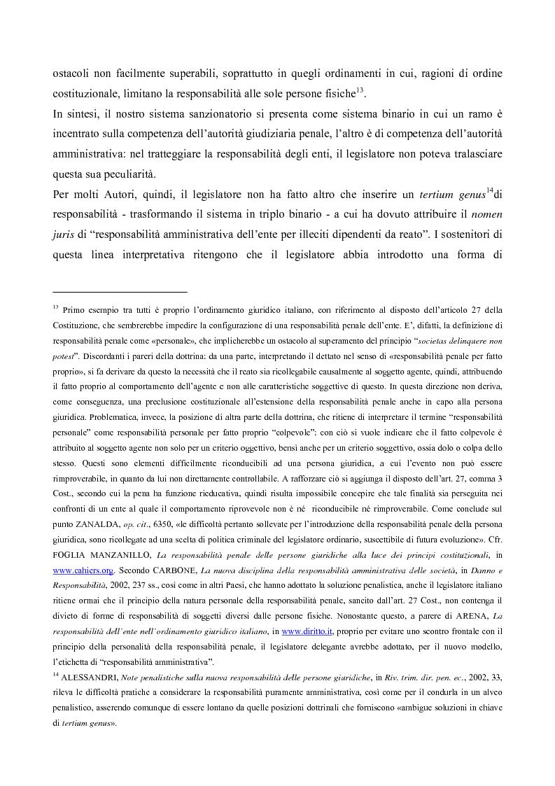 Anteprima della tesi: Il processo penale alle persone giuridiche nel d. lgs. 8 giugno 2001, n. 231, Pagina 8