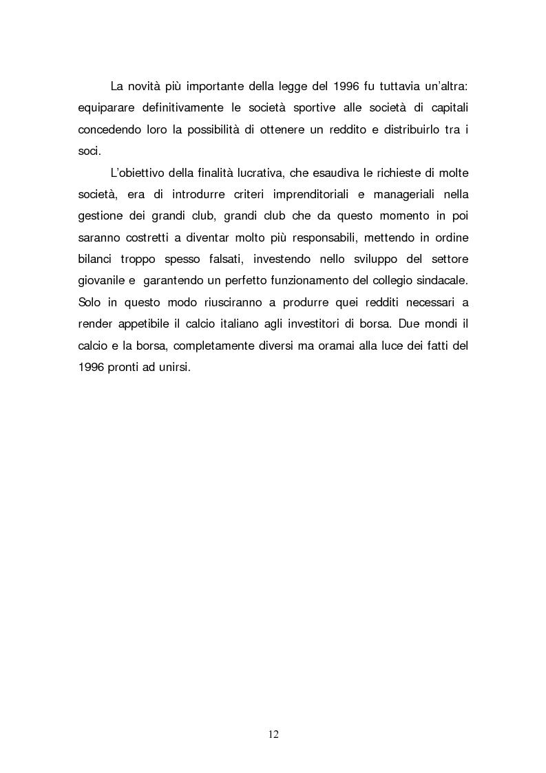 Anteprima della tesi: La quotazione in borsa di società calcistiche. Analisi del caso italiano e comparazione europea., Pagina 12