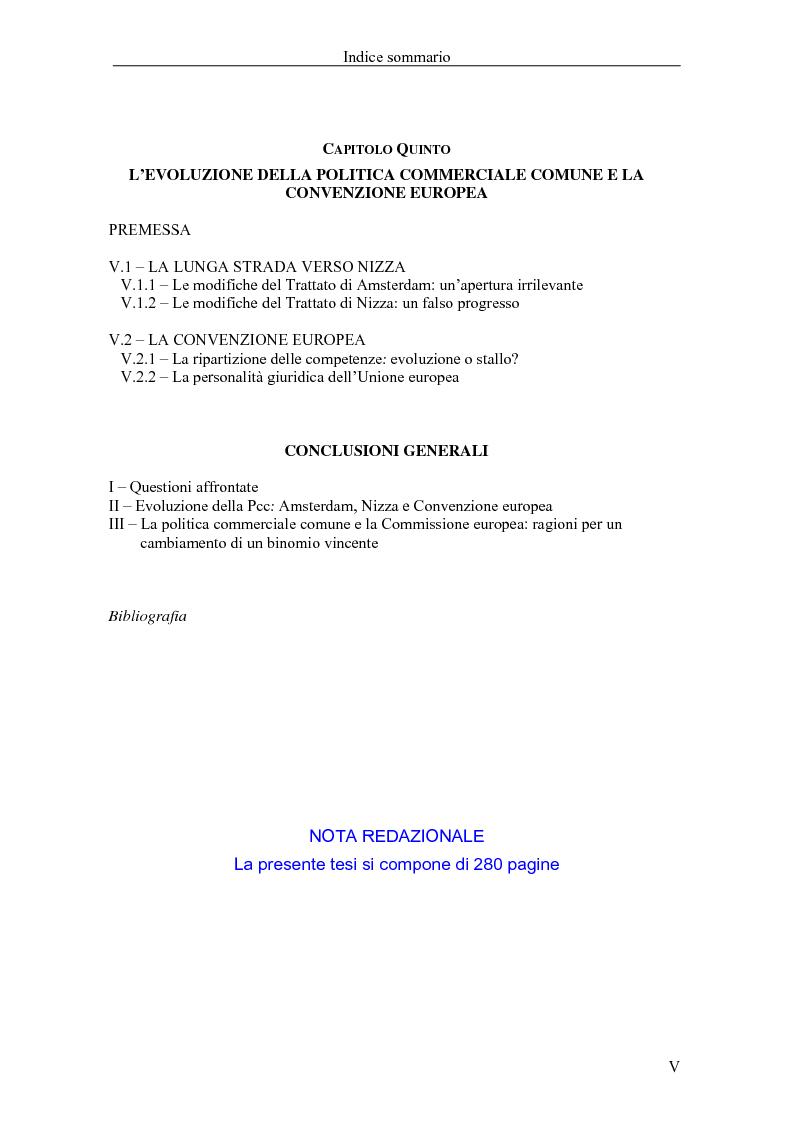 Indice della tesi: Profili giuridici della partecipazione della Comunità Europea all'OMC: l'evoluzione delle competenze esterne, Pagina 4