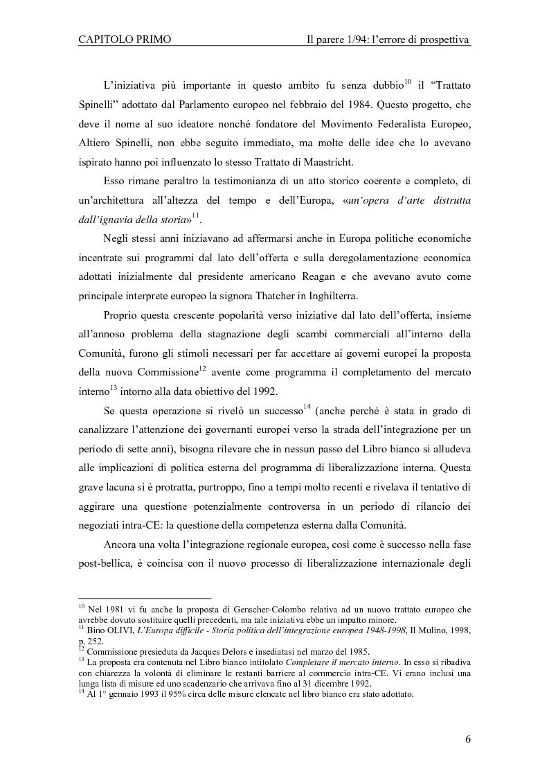 Anteprima della tesi: Profili giuridici della partecipazione della Comunità Europea all'OMC: l'evoluzione delle competenze esterne, Pagina 10