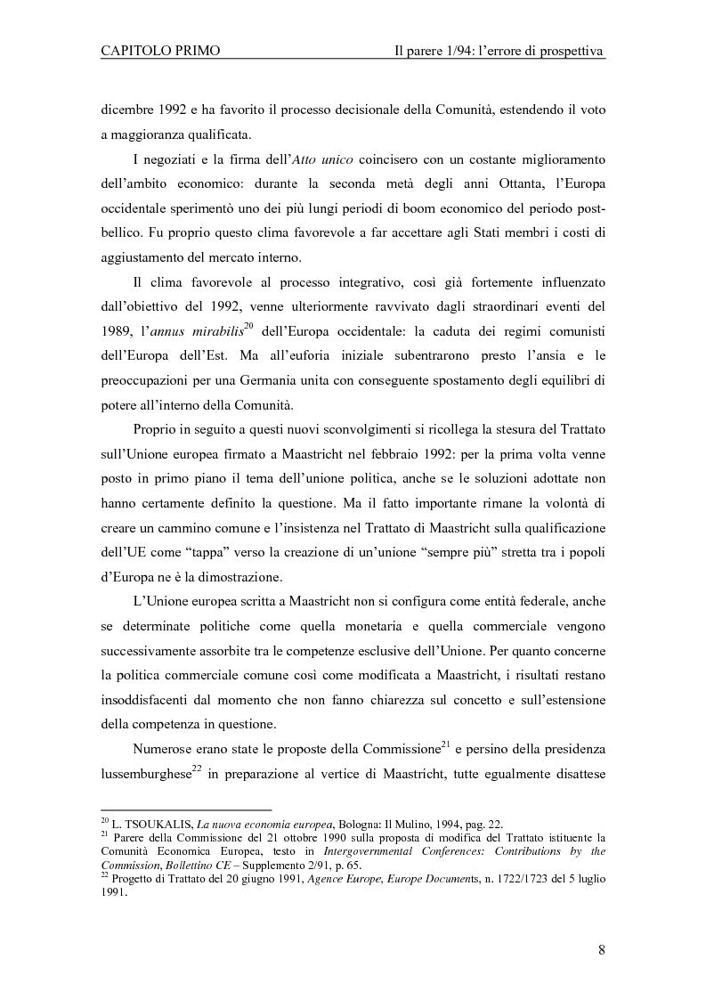 Anteprima della tesi: Profili giuridici della partecipazione della Comunità Europea all'OMC: l'evoluzione delle competenze esterne, Pagina 12