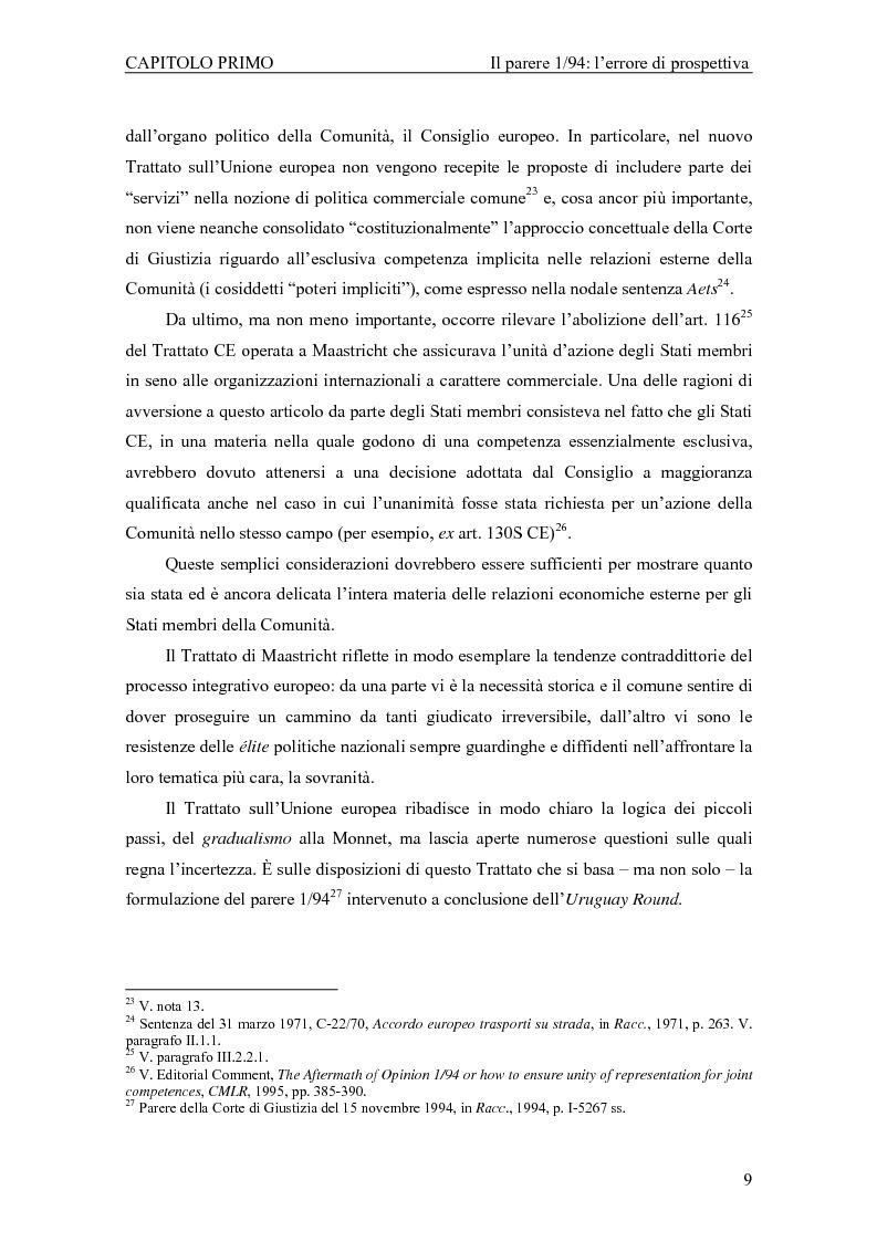 Anteprima della tesi: Profili giuridici della partecipazione della Comunità Europea all'OMC: l'evoluzione delle competenze esterne, Pagina 13