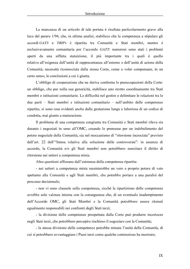 Anteprima della tesi: Profili giuridici della partecipazione della Comunità Europea all'OMC: l'evoluzione delle competenze esterne, Pagina 2