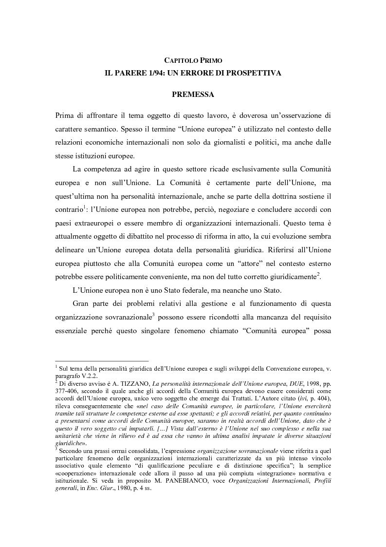 Anteprima della tesi: Profili giuridici della partecipazione della Comunità Europea all'OMC: l'evoluzione delle competenze esterne, Pagina 5