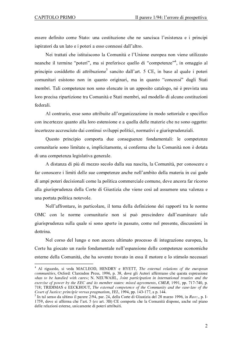 Anteprima della tesi: Profili giuridici della partecipazione della Comunità Europea all'OMC: l'evoluzione delle competenze esterne, Pagina 6