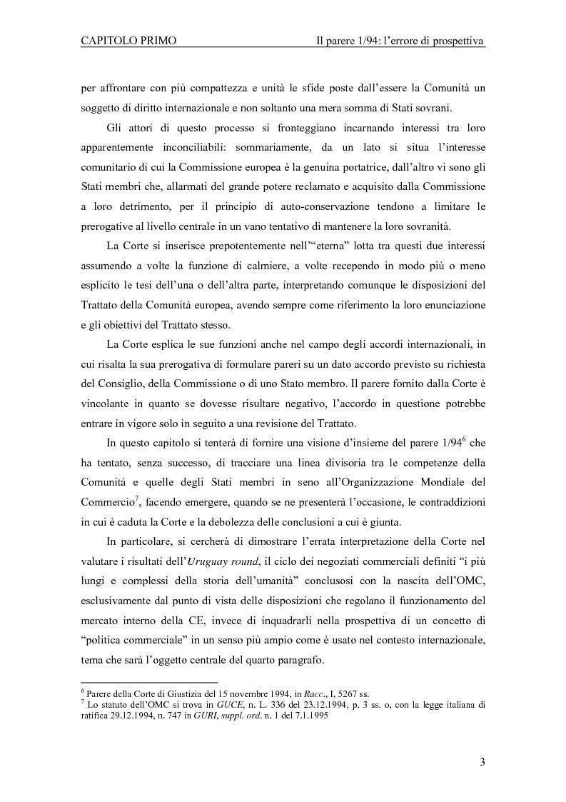 Anteprima della tesi: Profili giuridici della partecipazione della Comunità Europea all'OMC: l'evoluzione delle competenze esterne, Pagina 7