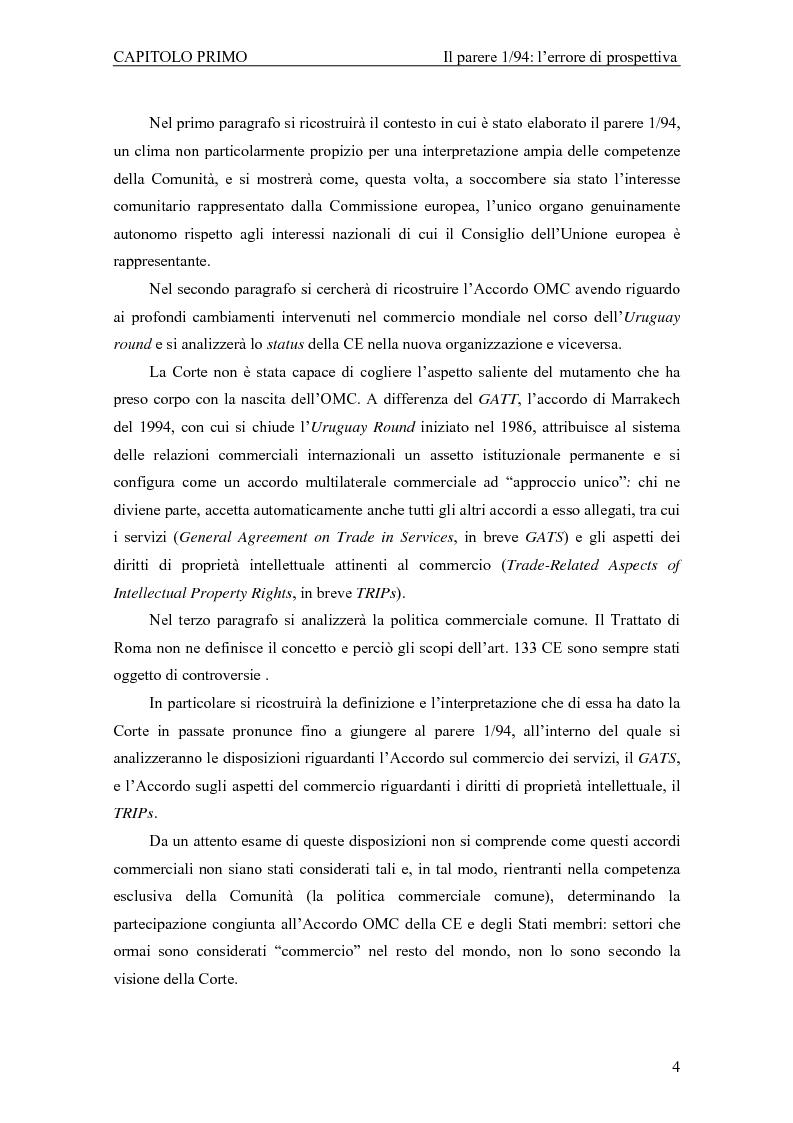 Anteprima della tesi: Profili giuridici della partecipazione della Comunità Europea all'OMC: l'evoluzione delle competenze esterne, Pagina 8