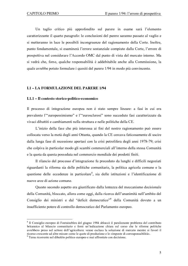 Anteprima della tesi: Profili giuridici della partecipazione della Comunità Europea all'OMC: l'evoluzione delle competenze esterne, Pagina 9