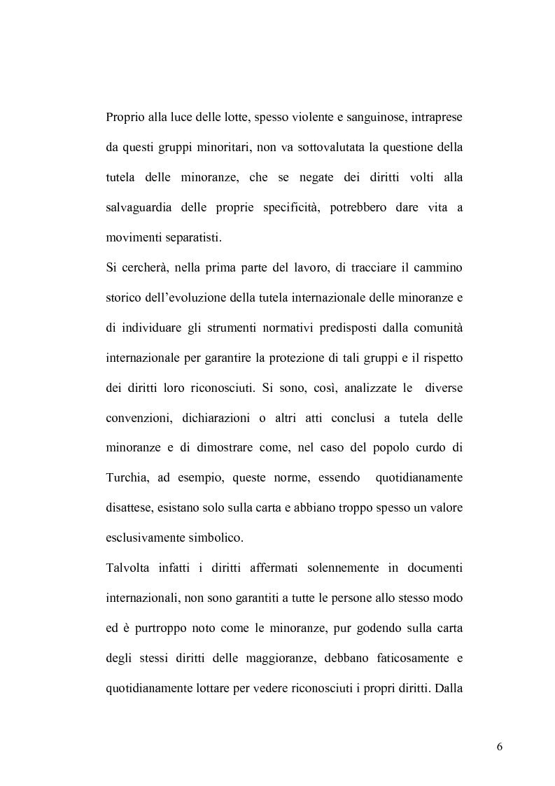 Anteprima della tesi: La tutela delle minoranze nel Diritto Internazionale, il caso dei Curdi di Turchia, Pagina 3