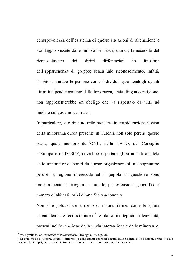 Anteprima della tesi: La tutela delle minoranze nel Diritto Internazionale, il caso dei Curdi di Turchia, Pagina 4
