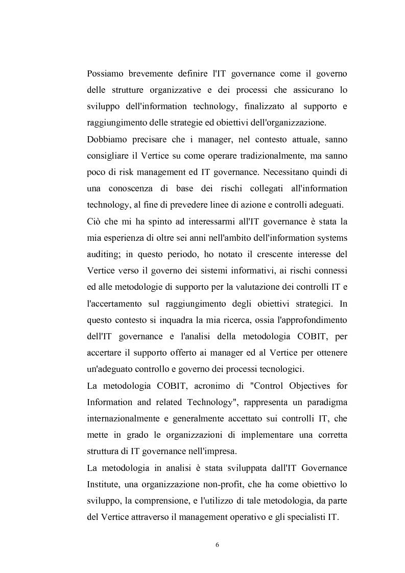 Anteprima della tesi: La metodologia COBIT come supporto del Management per l'IT Governance, Pagina 3