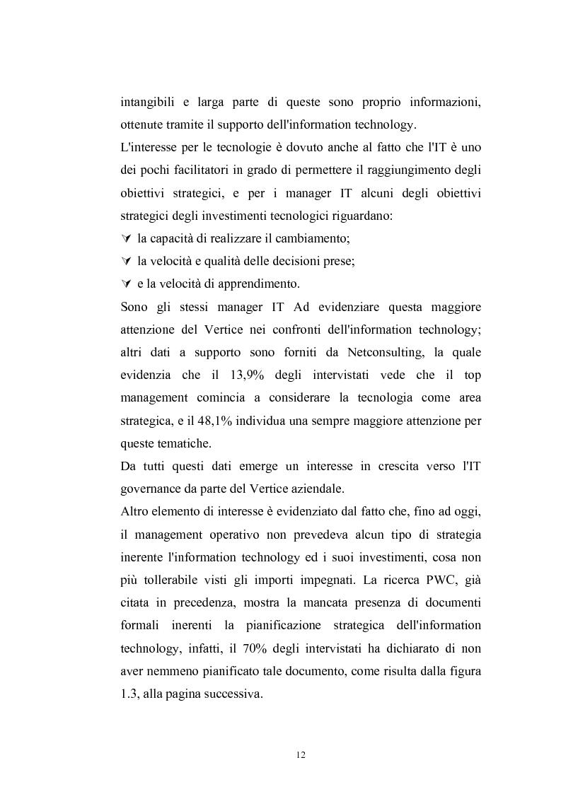 Anteprima della tesi: La metodologia COBIT come supporto del Management per l'IT Governance, Pagina 9