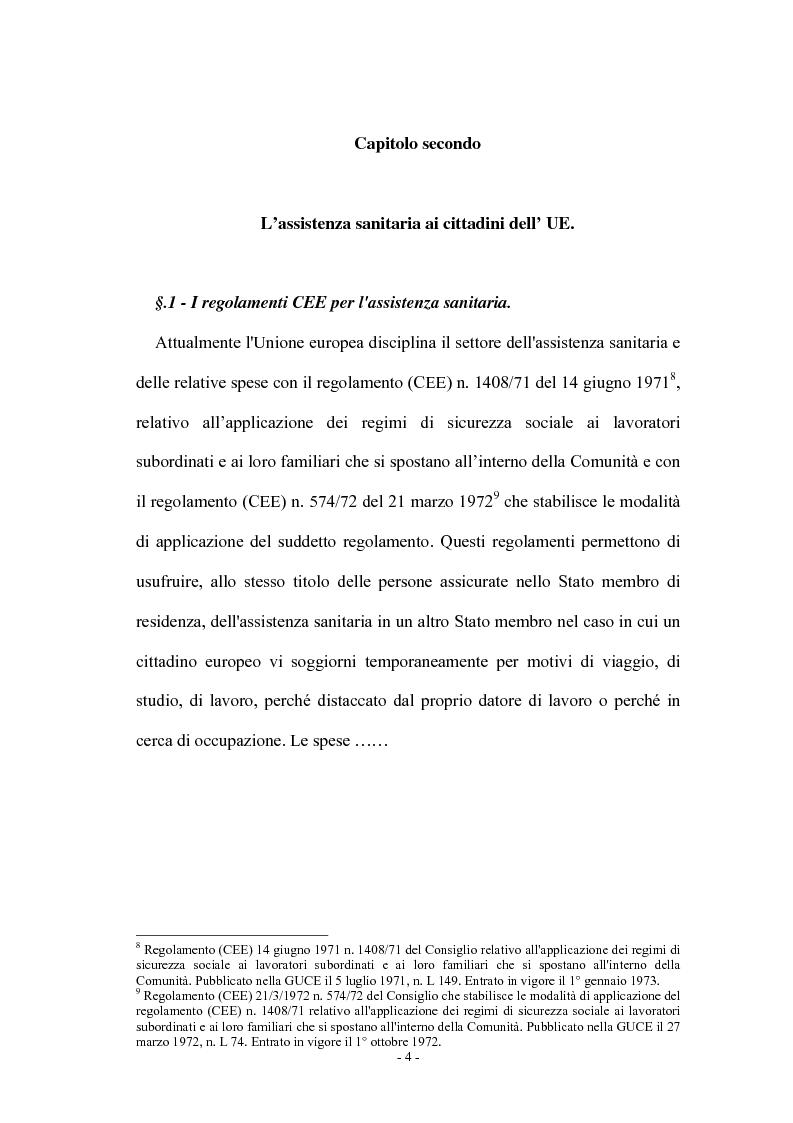 Anteprima della tesi: La tutela della salute nell'Unione Europea: assistenza sanitaria e spese mediche, Pagina 4