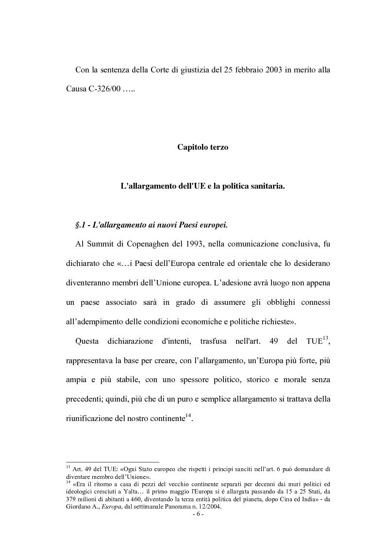 Anteprima della tesi: La tutela della salute nell'Unione Europea: assistenza sanitaria e spese mediche, Pagina 6