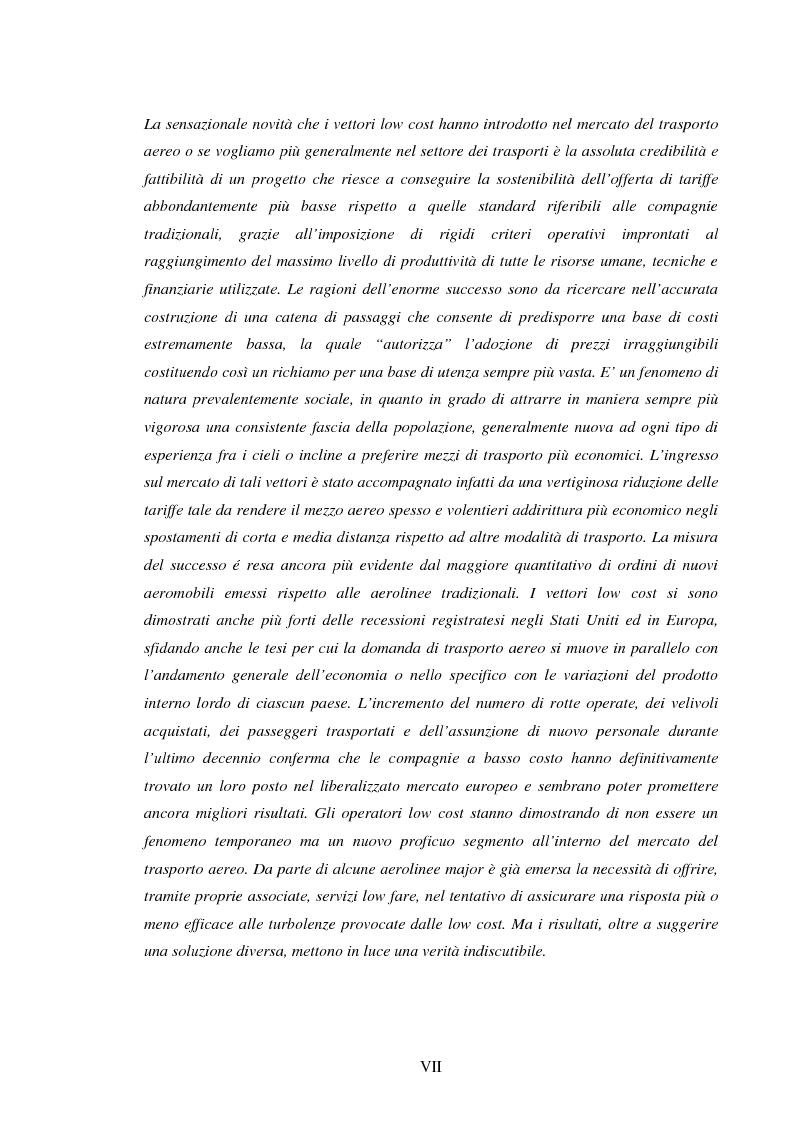 Anteprima della tesi: La recente evoluzione del mercato del trasporto aereo: il fenomeno delle Low Cost Airlines, Pagina 4