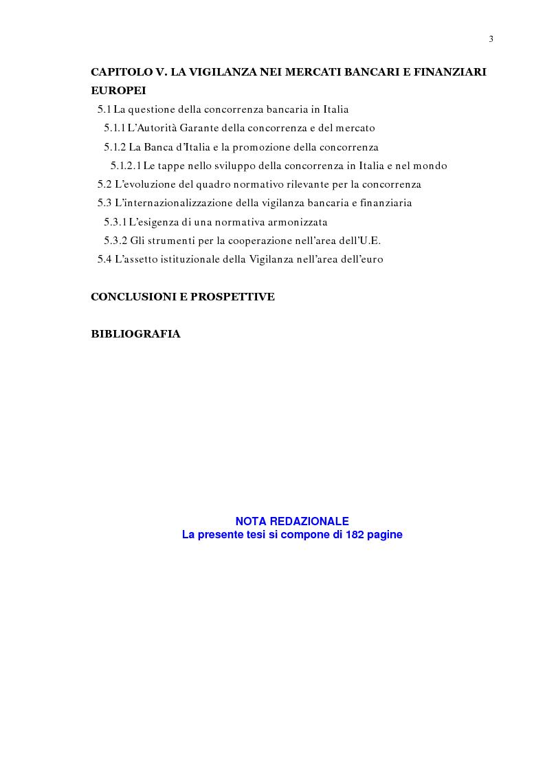 Indice della tesi: La concentrazione bancaria in Italia: analisi del processo di evoluzione storica in rapporto alle realtà economiche di altri paesi, Pagina 3