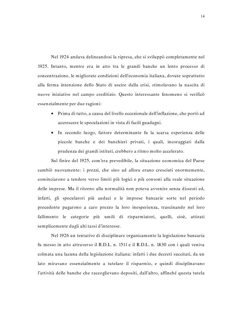 Anteprima della tesi: La concentrazione bancaria in Italia: analisi del processo di evoluzione storica in rapporto alle realtà economiche di altri paesi, Pagina 10