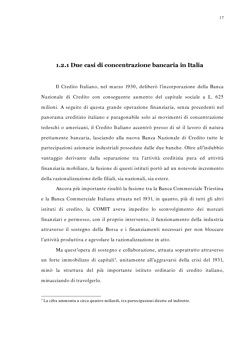 Anteprima della tesi: La concentrazione bancaria in Italia: analisi del processo di evoluzione storica in rapporto alle realtà economiche di altri paesi, Pagina 13