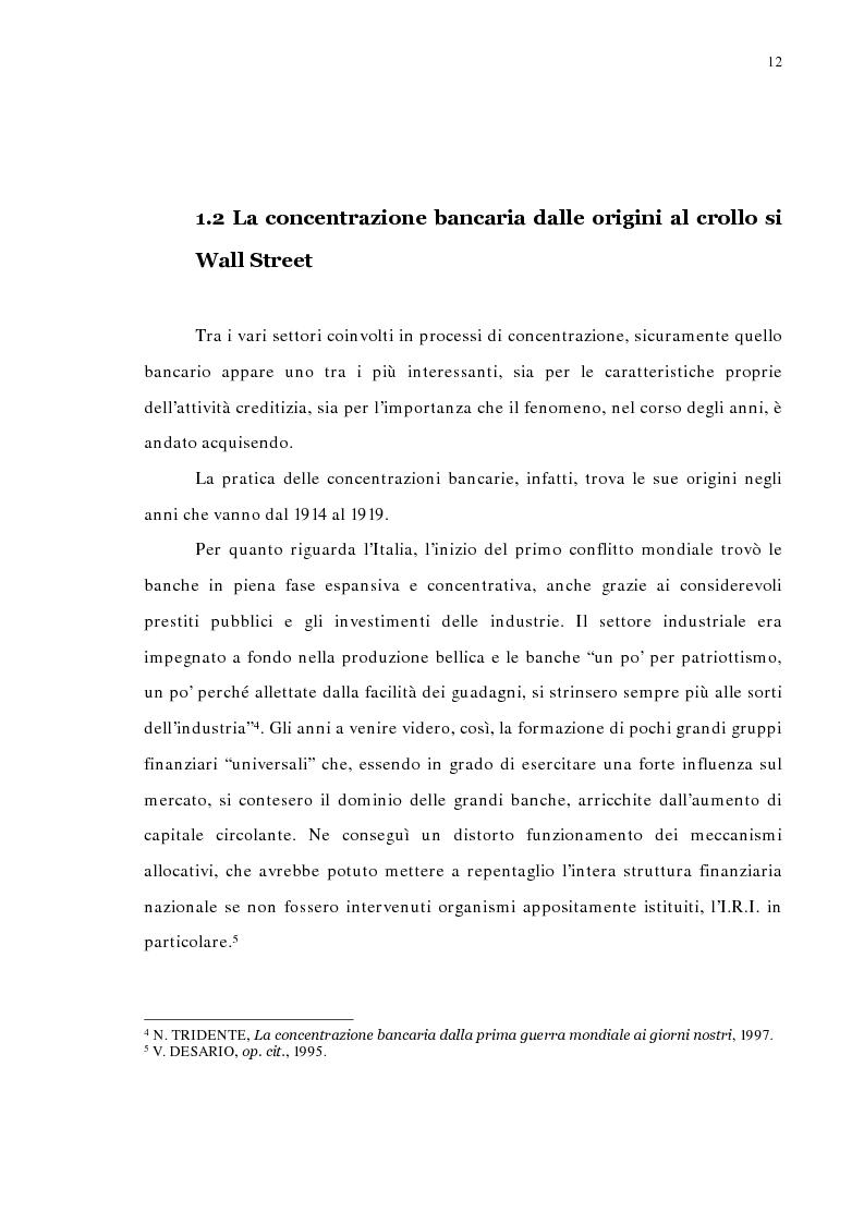 Anteprima della tesi: La concentrazione bancaria in Italia: analisi del processo di evoluzione storica in rapporto alle realtà economiche di altri paesi, Pagina 8