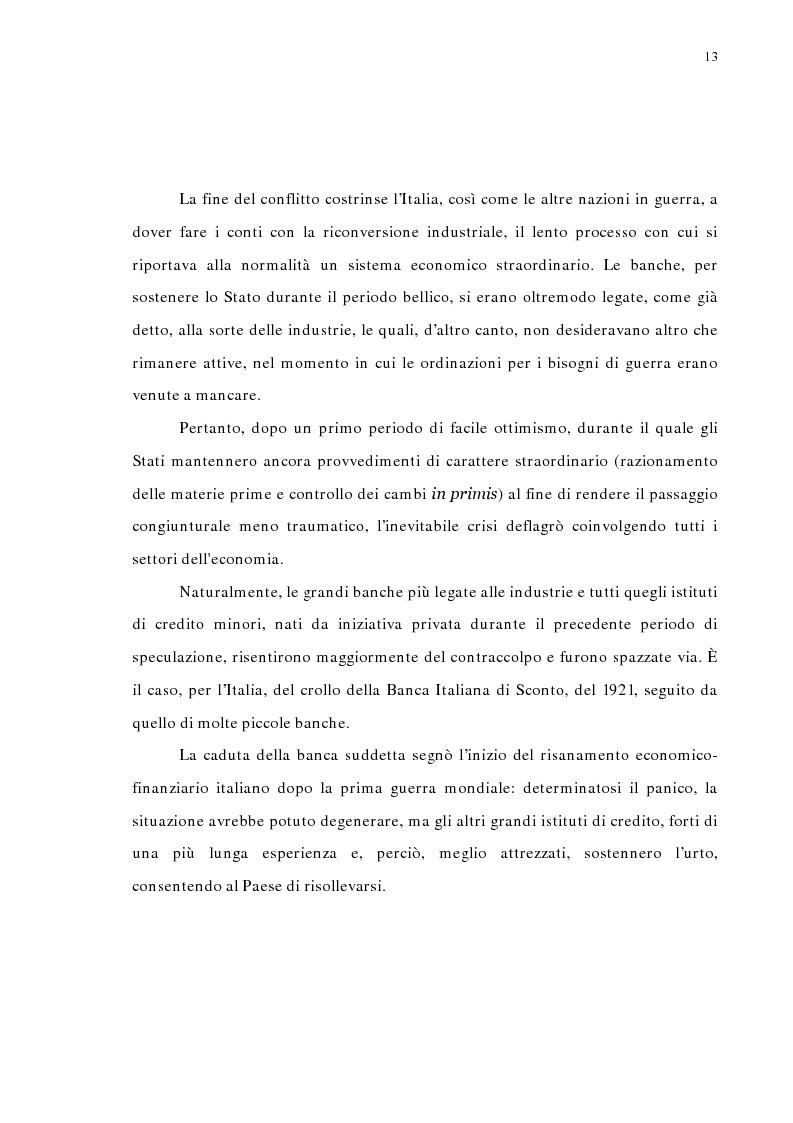 Anteprima della tesi: La concentrazione bancaria in Italia: analisi del processo di evoluzione storica in rapporto alle realtà economiche di altri paesi, Pagina 9