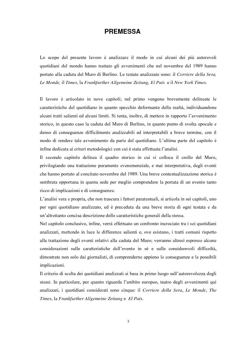 Anteprima della tesi: La caduta del Muro di Berlino attraverso la stampa internazionale, Pagina 1
