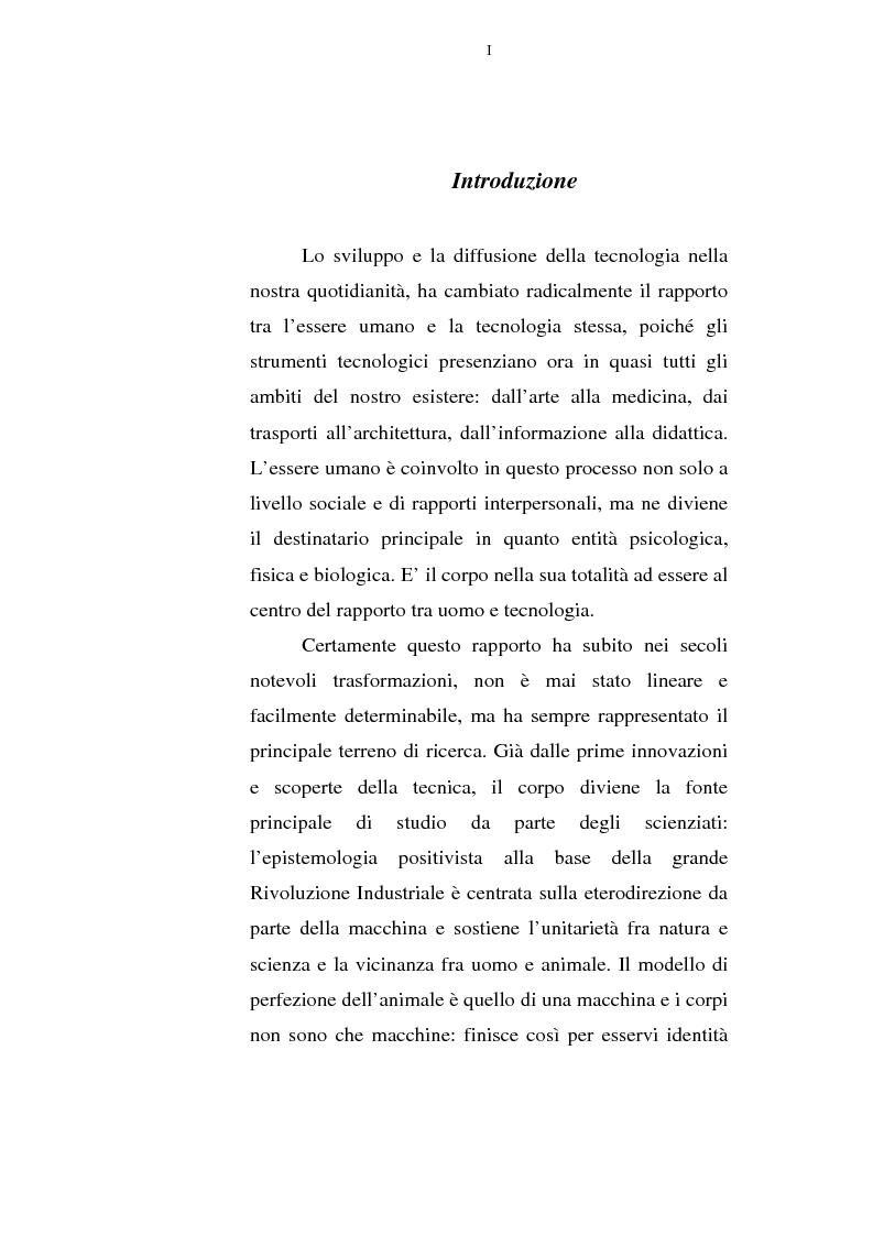 Anteprima della tesi: Il corpo tecnologico: verso un nuovo modello relazionale, Pagina 1