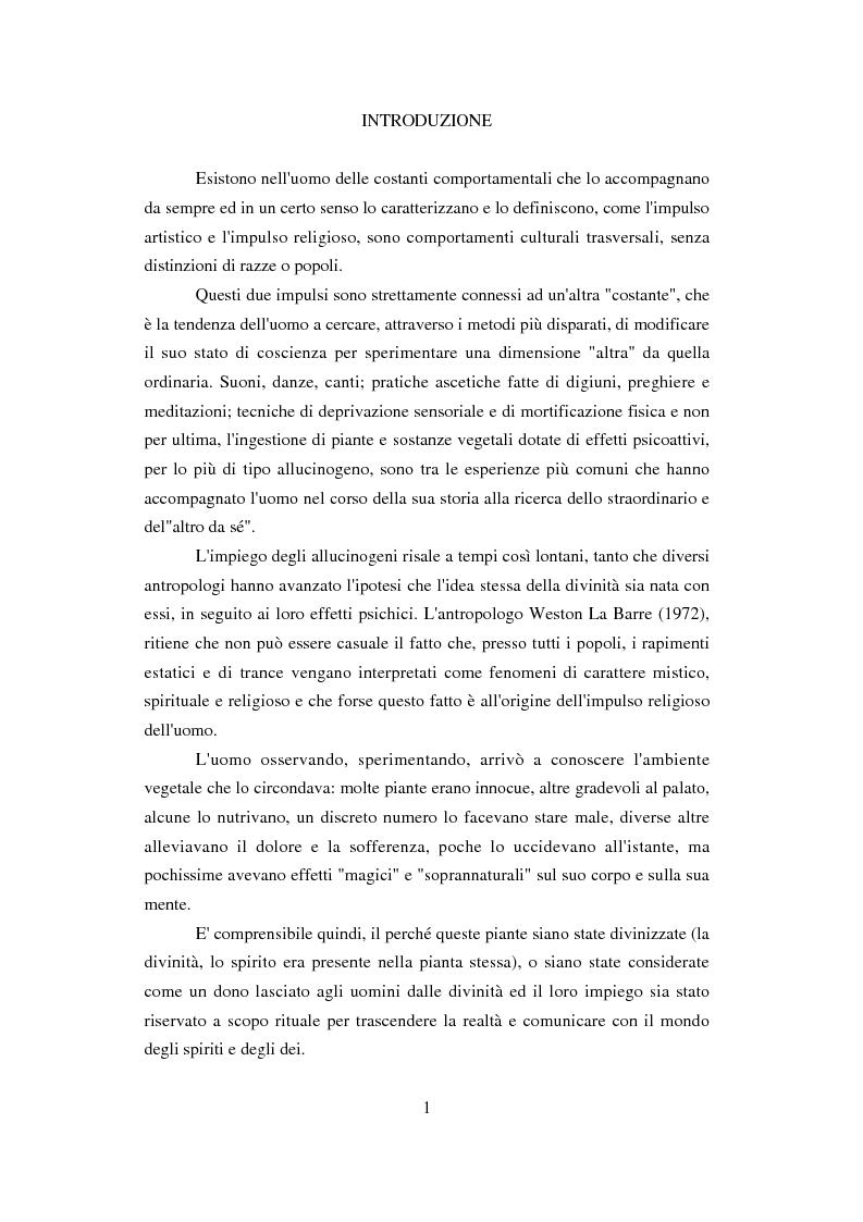 Anteprima della tesi: Peyote: profilo farmaco-tossicologico e modelli culturali nelle popolazioni indigene nordamericane, Pagina 1