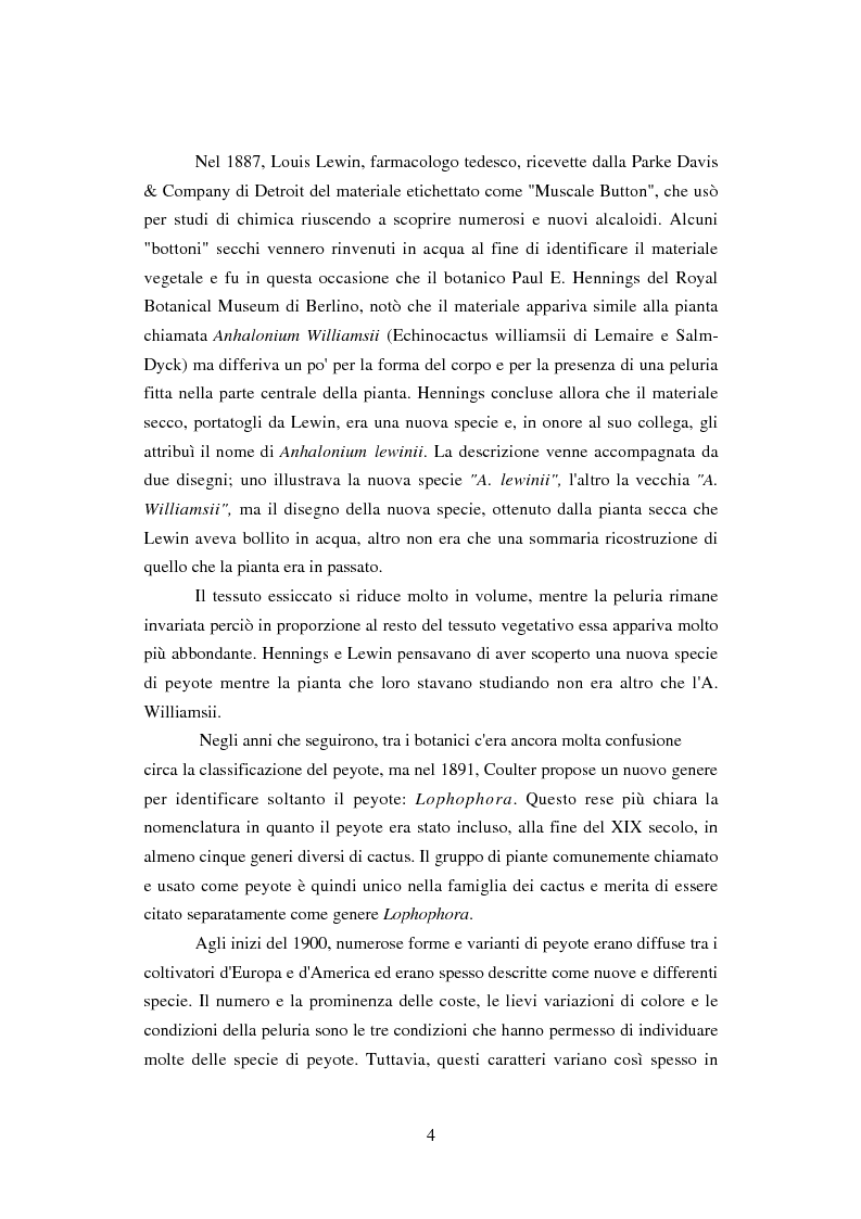 Anteprima della tesi: Peyote: profilo farmaco-tossicologico e modelli culturali nelle popolazioni indigene nordamericane, Pagina 4