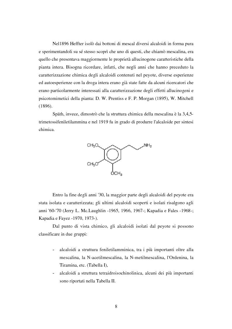 Anteprima della tesi: Peyote: profilo farmaco-tossicologico e modelli culturali nelle popolazioni indigene nordamericane, Pagina 8