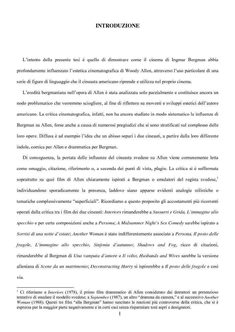 Anteprima della tesi: Influenze della modernità nel cinema di Woody Allen: l'eredità di Ingmar Bergman, Pagina 1