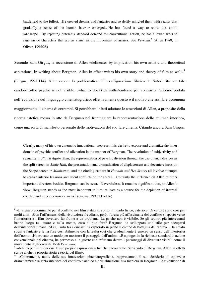 Anteprima della tesi: Influenze della modernità nel cinema di Woody Allen: l'eredità di Ingmar Bergman, Pagina 3