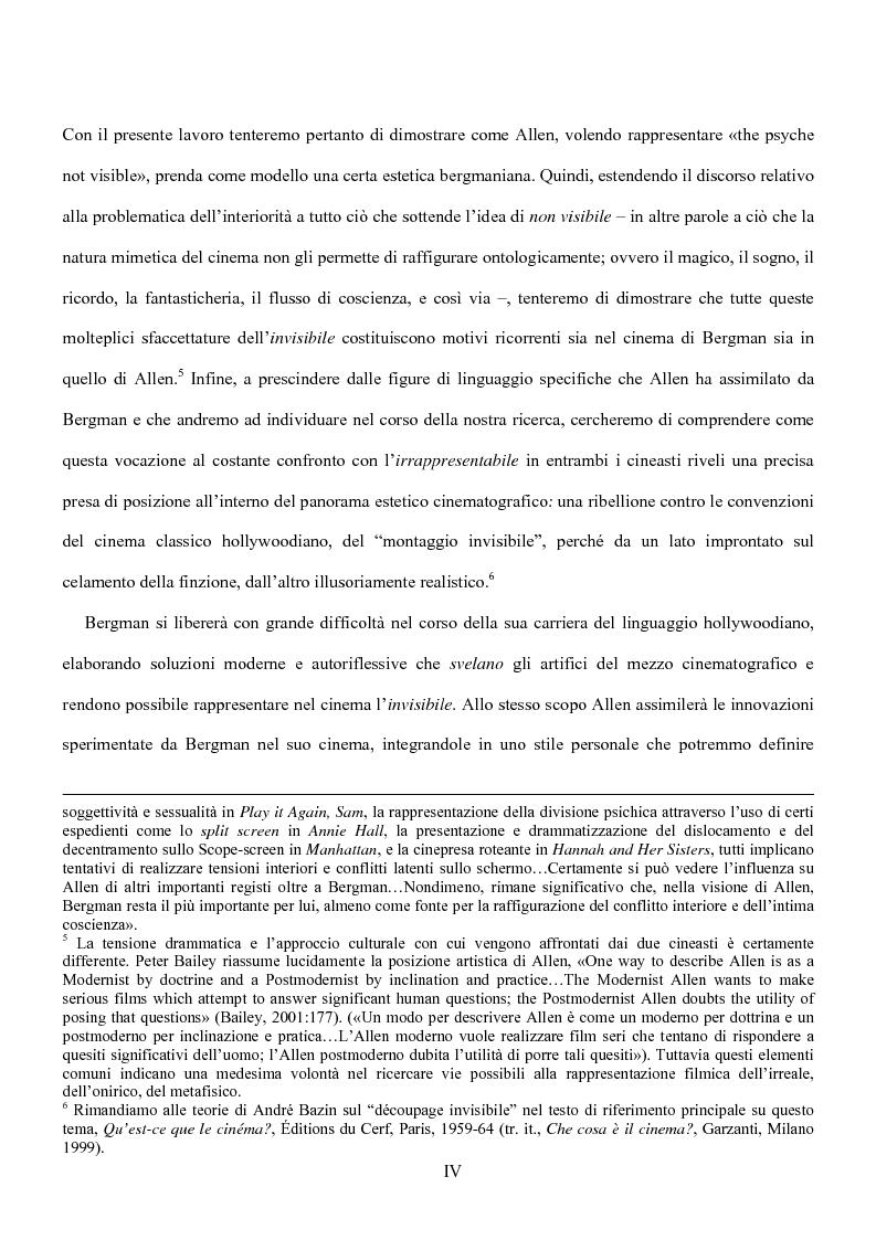 Anteprima della tesi: Influenze della modernità nel cinema di Woody Allen: l'eredità di Ingmar Bergman, Pagina 4