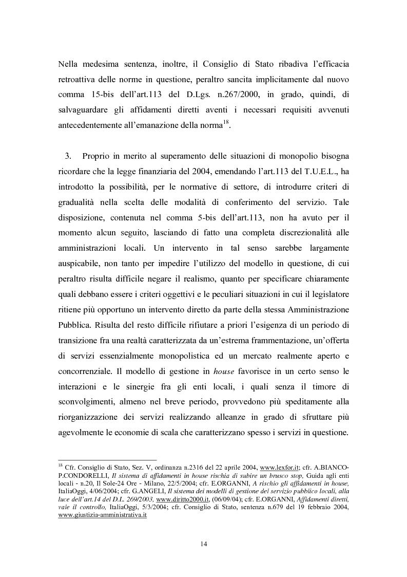 Anteprima della tesi: Le politiche di liberalizzazione e privatizzazione dei servizi pubblici locali. Il caso della Regione Marche., Pagina 14