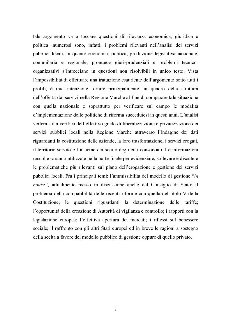 Anteprima della tesi: Le politiche di liberalizzazione e privatizzazione dei servizi pubblici locali. Il caso della Regione Marche., Pagina 2