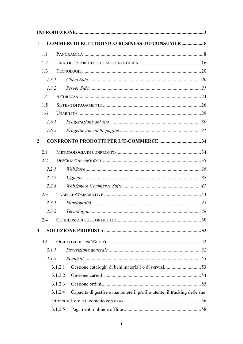 Indice della tesi: Sistema Software Personalizzabile e Multicanale per il Commercio Elettronico, Pagina 1
