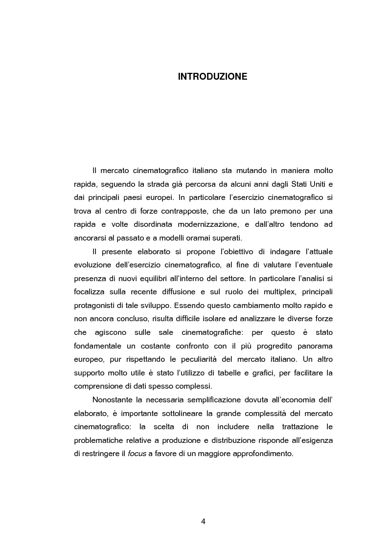 Anteprima della tesi: Il ruolo dei multiplex ed i nuovi equilibri nell'esercizio cinematografico. Il caso Cinecity a Treviso., Pagina 1